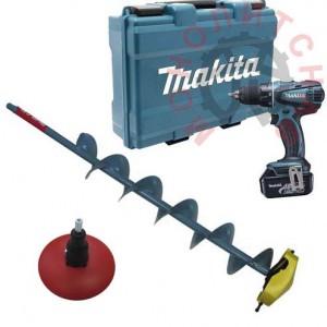 Дрель аккумуляторная MAKITA BDF456RFE с буром Rapala для сверления льда - электроледобур