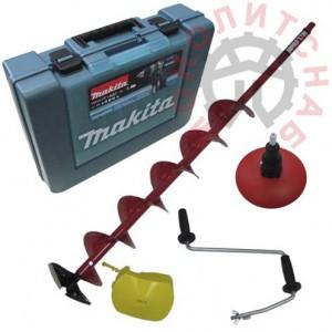 Дрель-шуруповерт Makita DDF454RFE + ледобур Rapala с ручкой для сверления льда - электроледобур